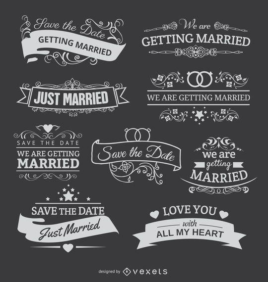 9 emblemas de tiza para invitaciones de boda.