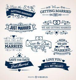 Jogo de emblemas do casamento para convites cartões