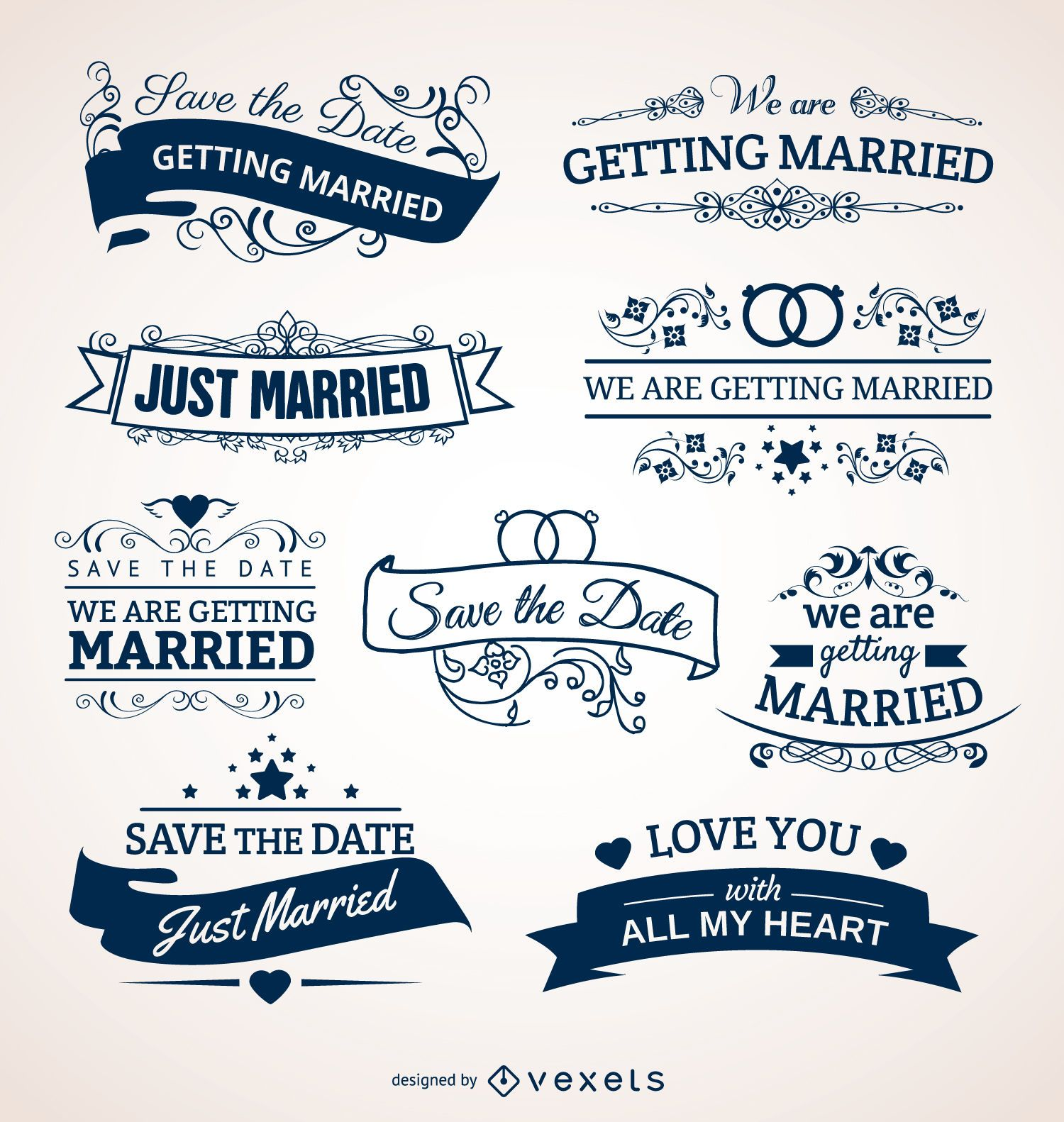 Set of Wedding Badges for invitations cards