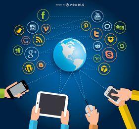 Concepto de interacción redes sociales.