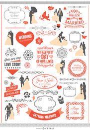 Conjunto de elementos gráficos de boda con cintas, pancartas, siluetas.