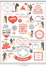 Wedding graphic element set with ribbons, banners, silhouettes