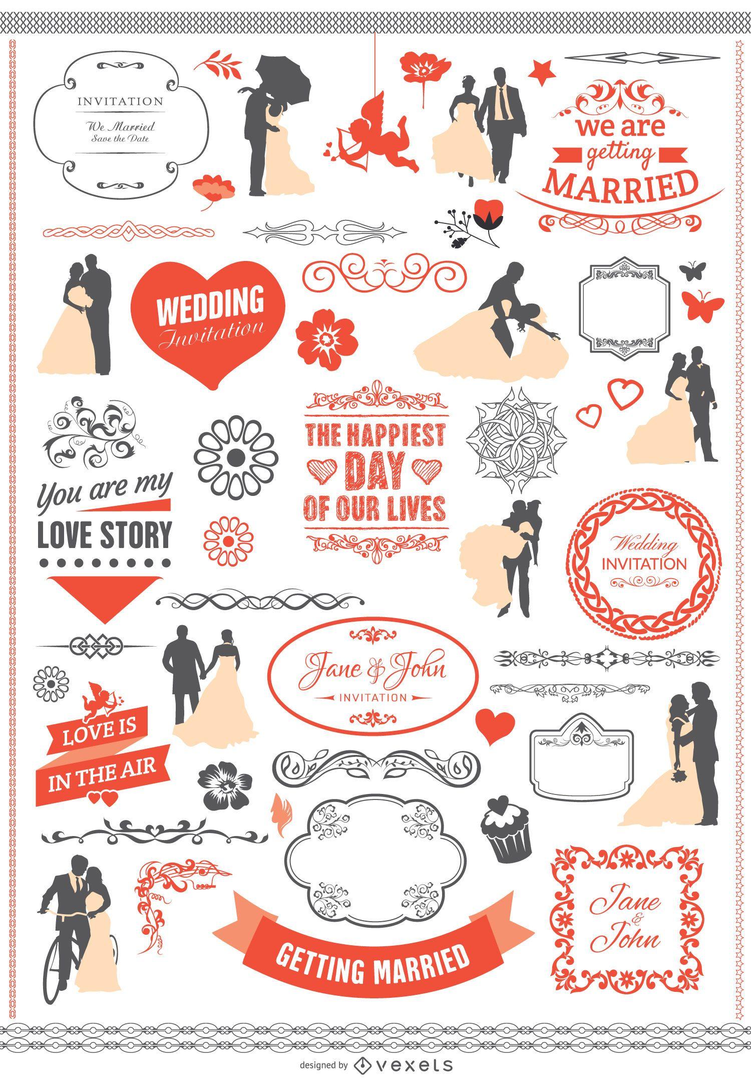 Conjunto de elementos gráficos de boda con cintas pancartas siluetas