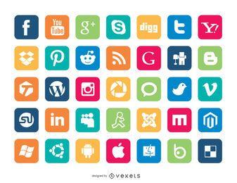 Set von Social Media Icons