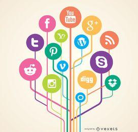 Conceito de links de redes sociais