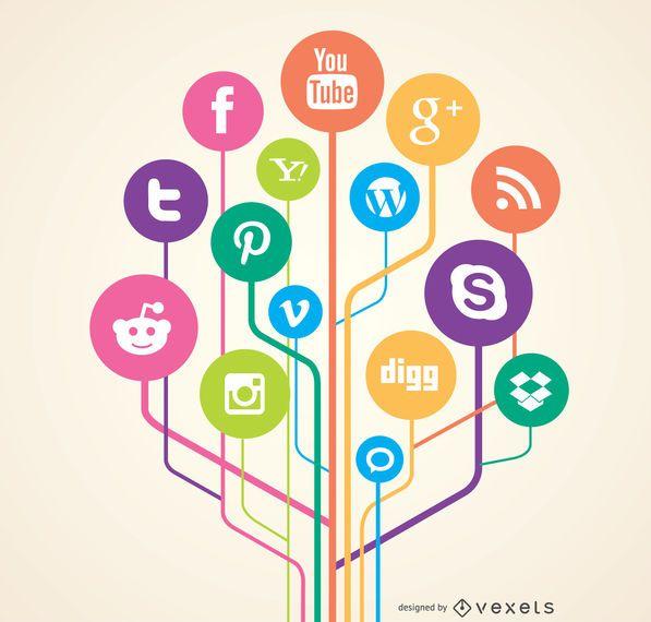 Conceito de links de rede social