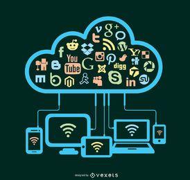 Medios de Comunicación Social de la nube Concepto