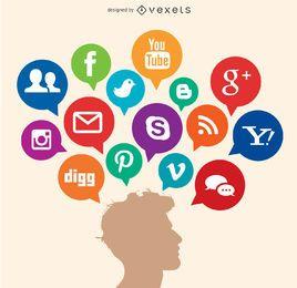 Pensamentos de mídia social