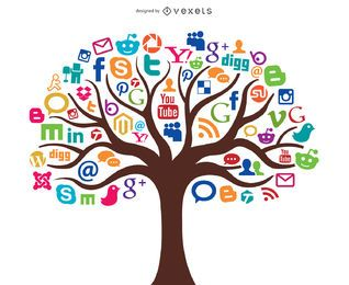 Concepto de árbol de medios sociales