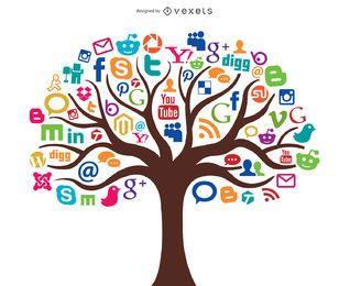 Mídia social Árvore Conceito