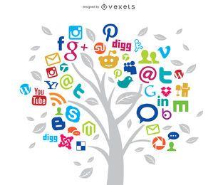 Concepto de árbol de redes sociales