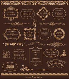 Badges casamento douradas e ornamentos