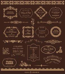 Golden Wedding Badges and Ornaments