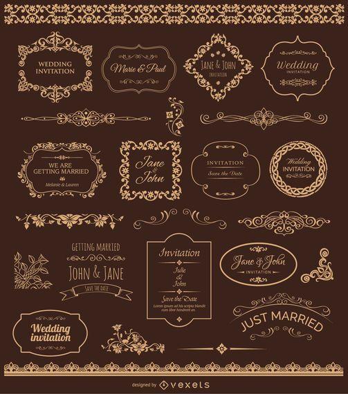 Emblemas De Casamento De Ouro e Ornamentos