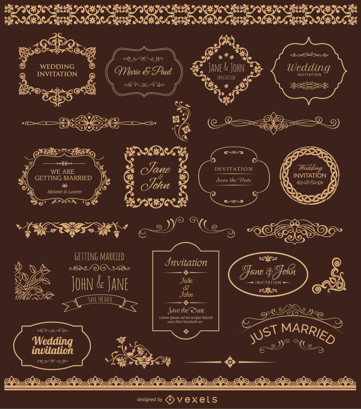 Goldene Hochzeit Abzeichen Und Ornamente Vektor Download