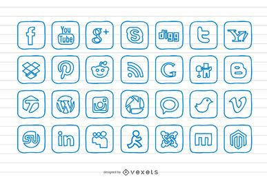 Conjunto de ícones de mão desenhada Doodle Social