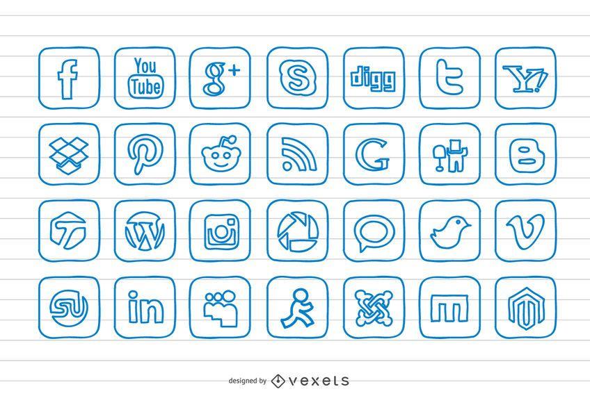 Conjunto de ícones sociais de doodle desenhado à mão
