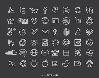 Ícones de mídia social de giz Blackboard