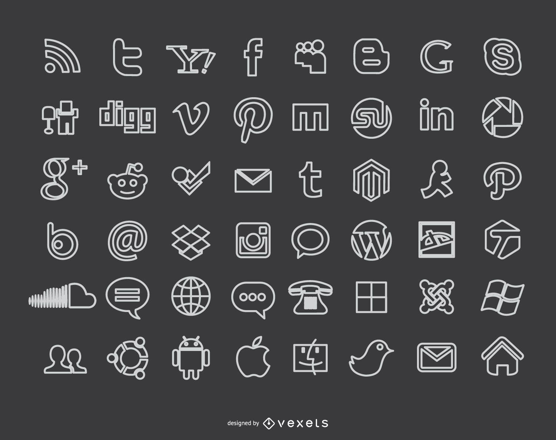 Iconos de redes sociales de tiza Blackboard