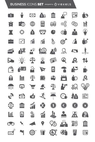 Conjunto de iconos de negocio plano 104