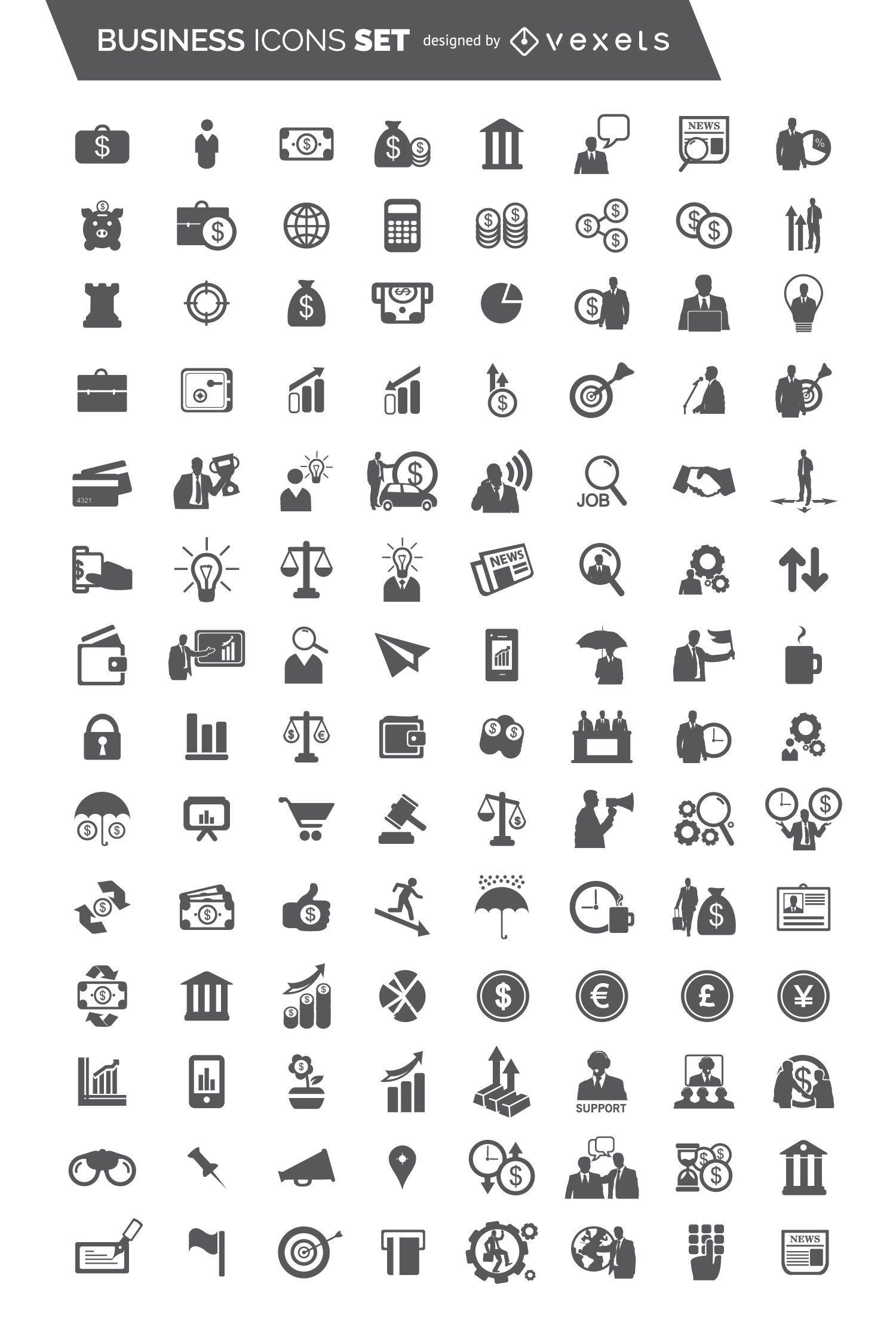 104 Conjunto de ícones de negócios simples
