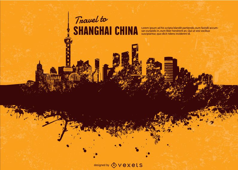 Skyline de Xangai do grunge