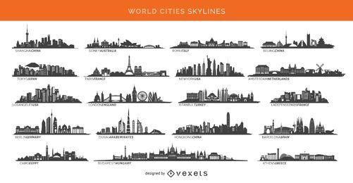 19 cidades famosas skylines incluindo Paris, Londres, Sidney e muito mais