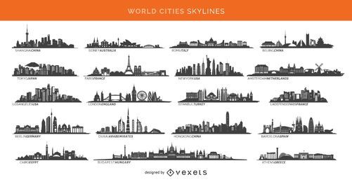 19 famosos skylines cidades, incluindo Paris, Londres, Sidney e mais