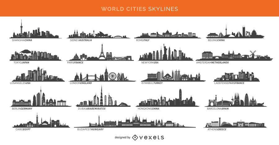 19 skylines de cidades famosas, incluindo Paris, Londres, Sidney e muito mais