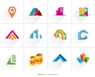 Conjunto de logotipo colorido de bienes raíces