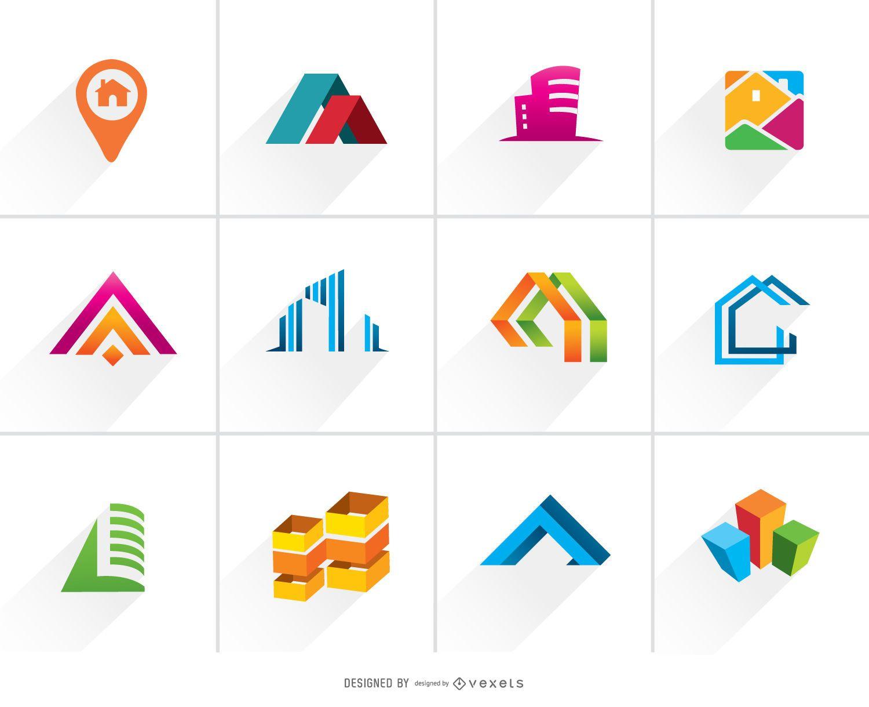 Conjunto de logotipo colorido de bienes ra?ces