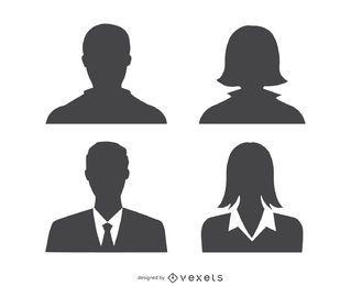 Silhueta de perfil de avatares
