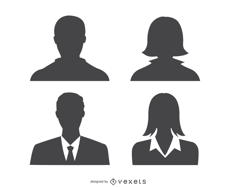 Silueta de perfil de avatares