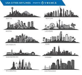 10 famosas cidades dos EUA Skylines