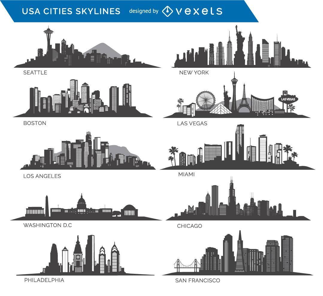 10 cidades famosas dos EUA Skylines