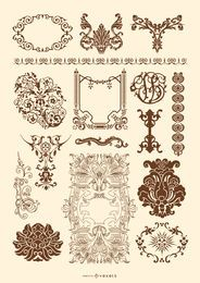 Conjunto de ornamento vitoriano e rococó