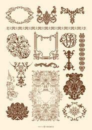 Viktorianische und Rokoko Ornament Set