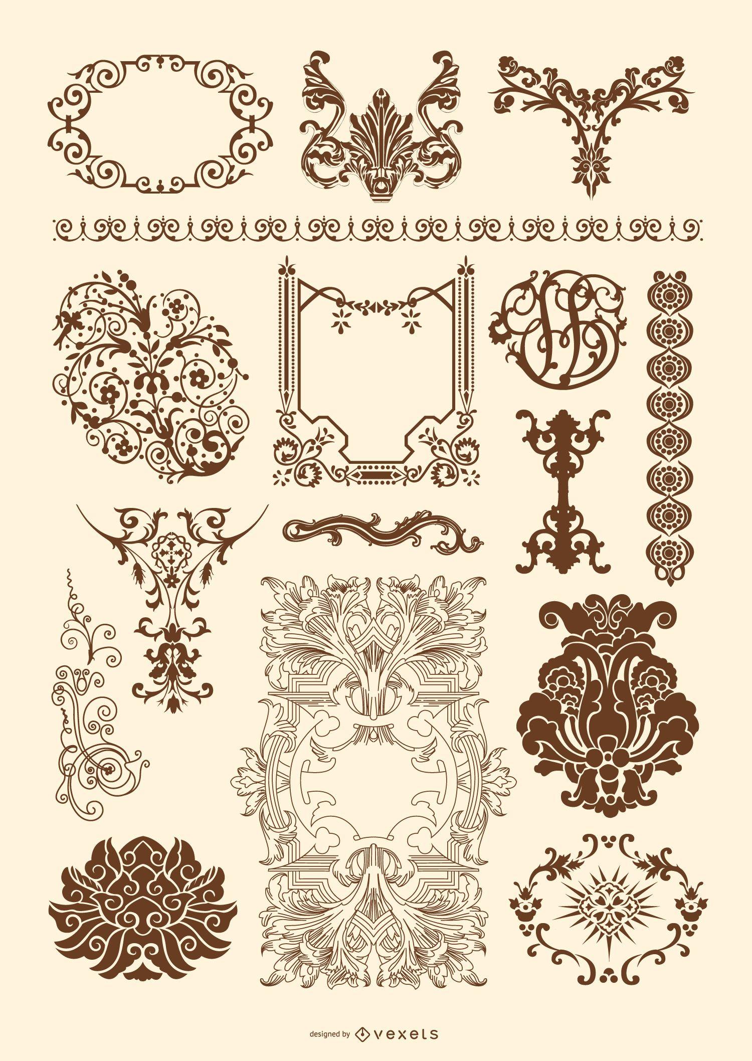 Victorian and rococo ornament set vector download for Design ornaments