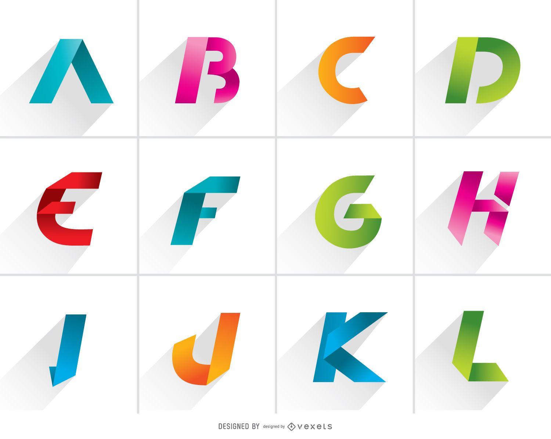 Letras del logotipo de la A a la L