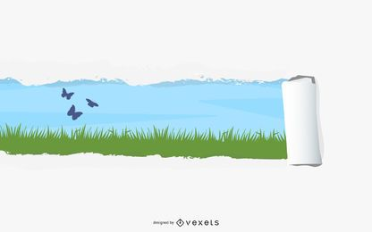 Natureza escondida rasgada da página