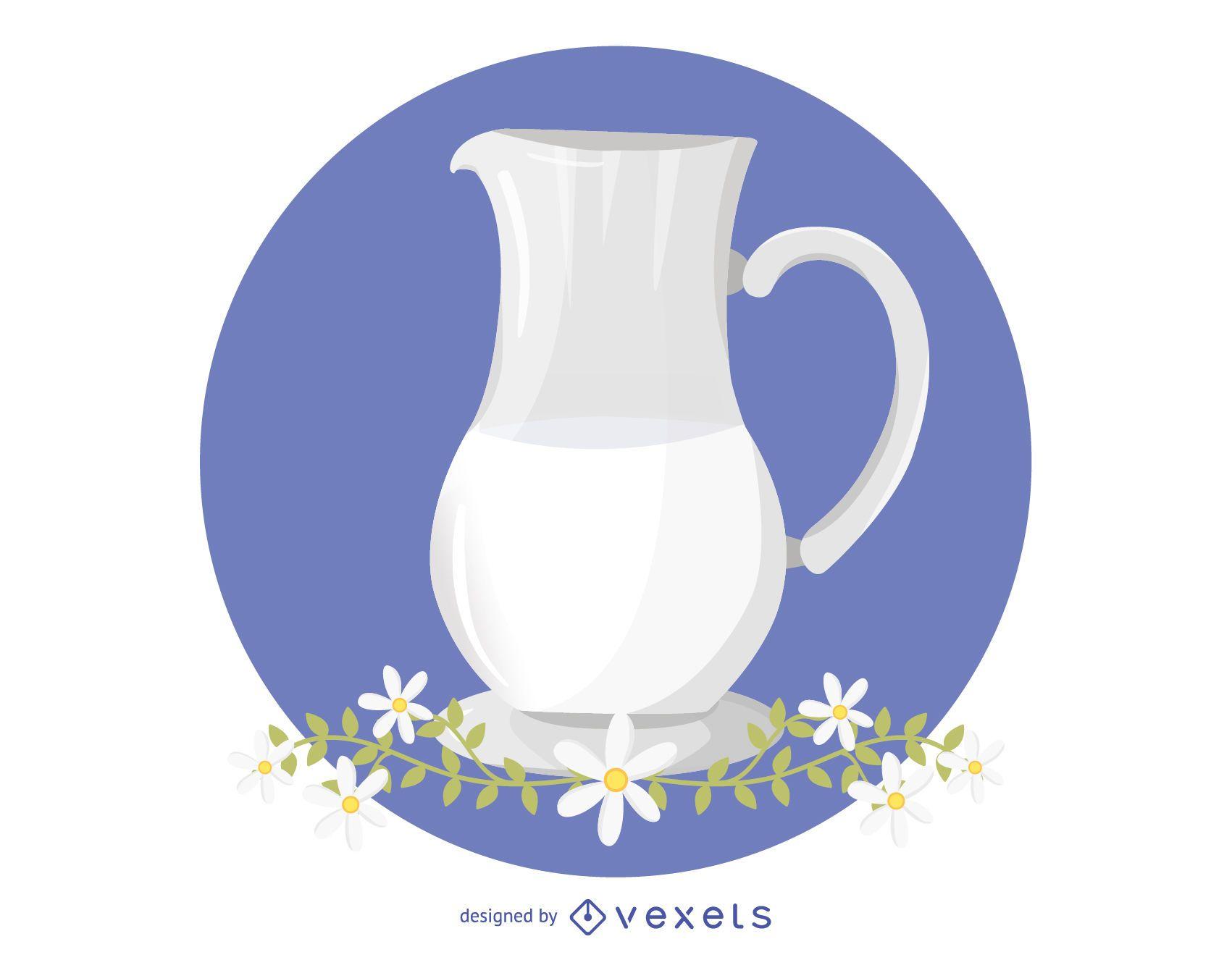 Milk and Chamomile Vector