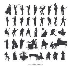 Conjunto de silhuetas de músicas