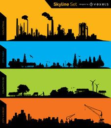 silhuetas de horizonte - Industrial, parque, Conuntryside e Porto