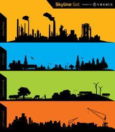 Siluetas de horizonte - Industrial, Parque, Conuntryside y Puerto
