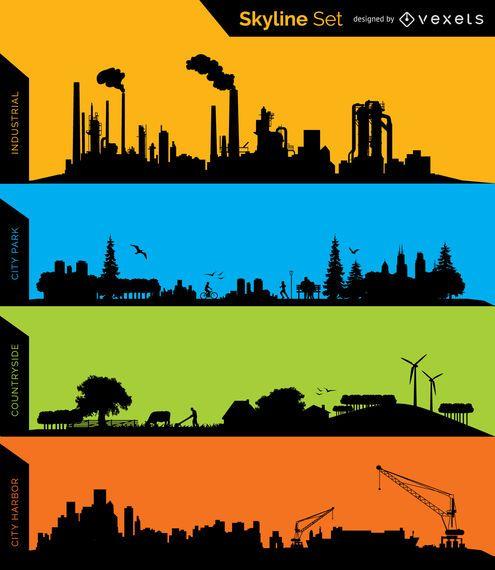 Siluetas de horizonte industrial, parque, campo y puerto