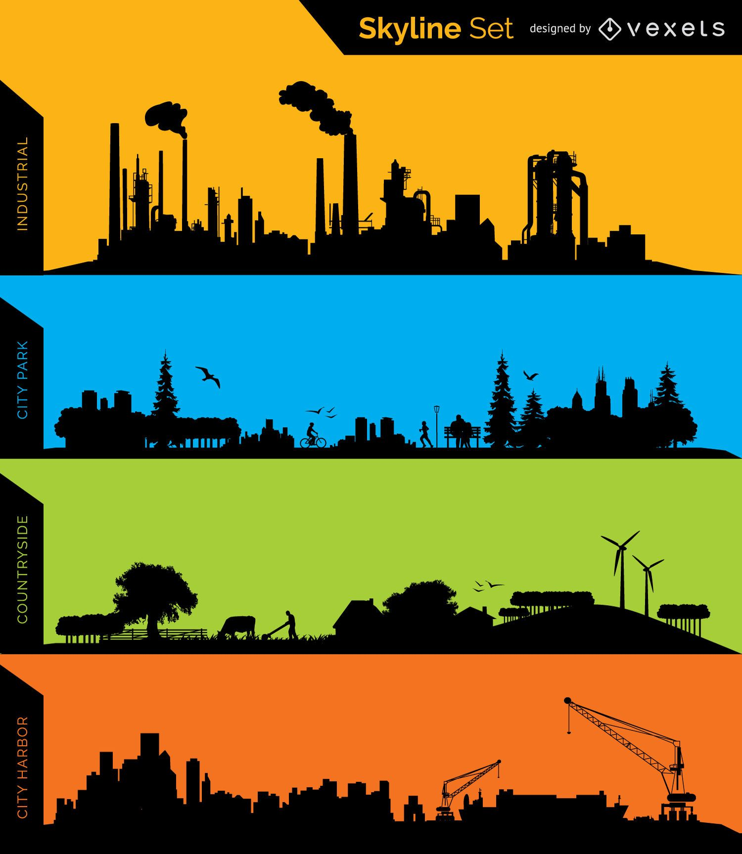 Industrial Park Countryside and Harbor skyline silhouettes