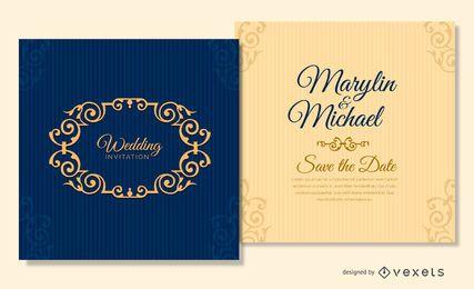 plantilla de tarjeta de boda azul marino