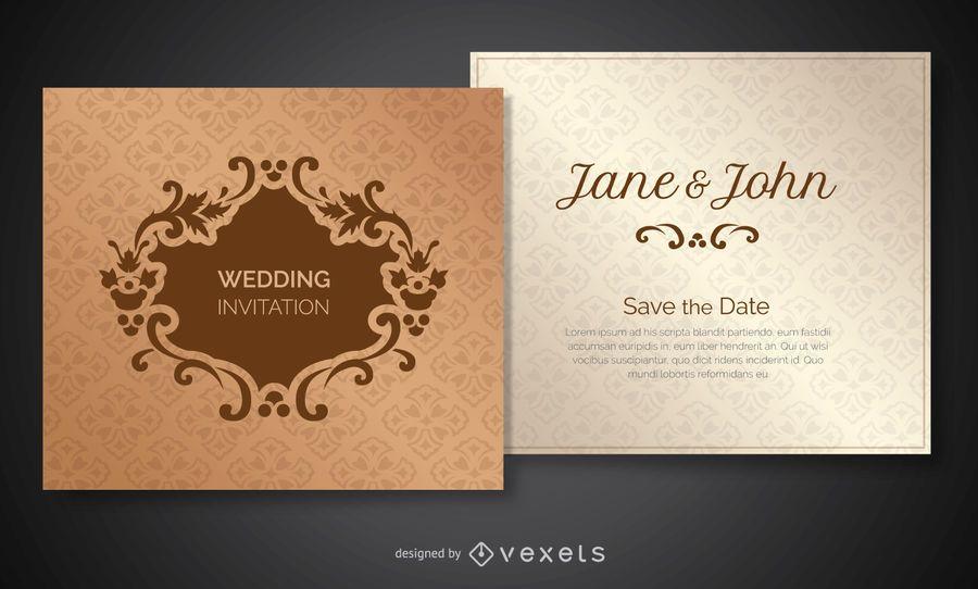 Convite de casamento decorado