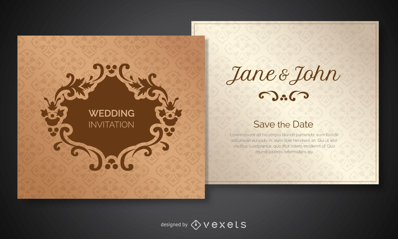Invitación de boda decorada