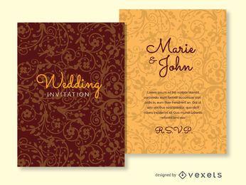 Invitación de la boda de fondo ornamentado